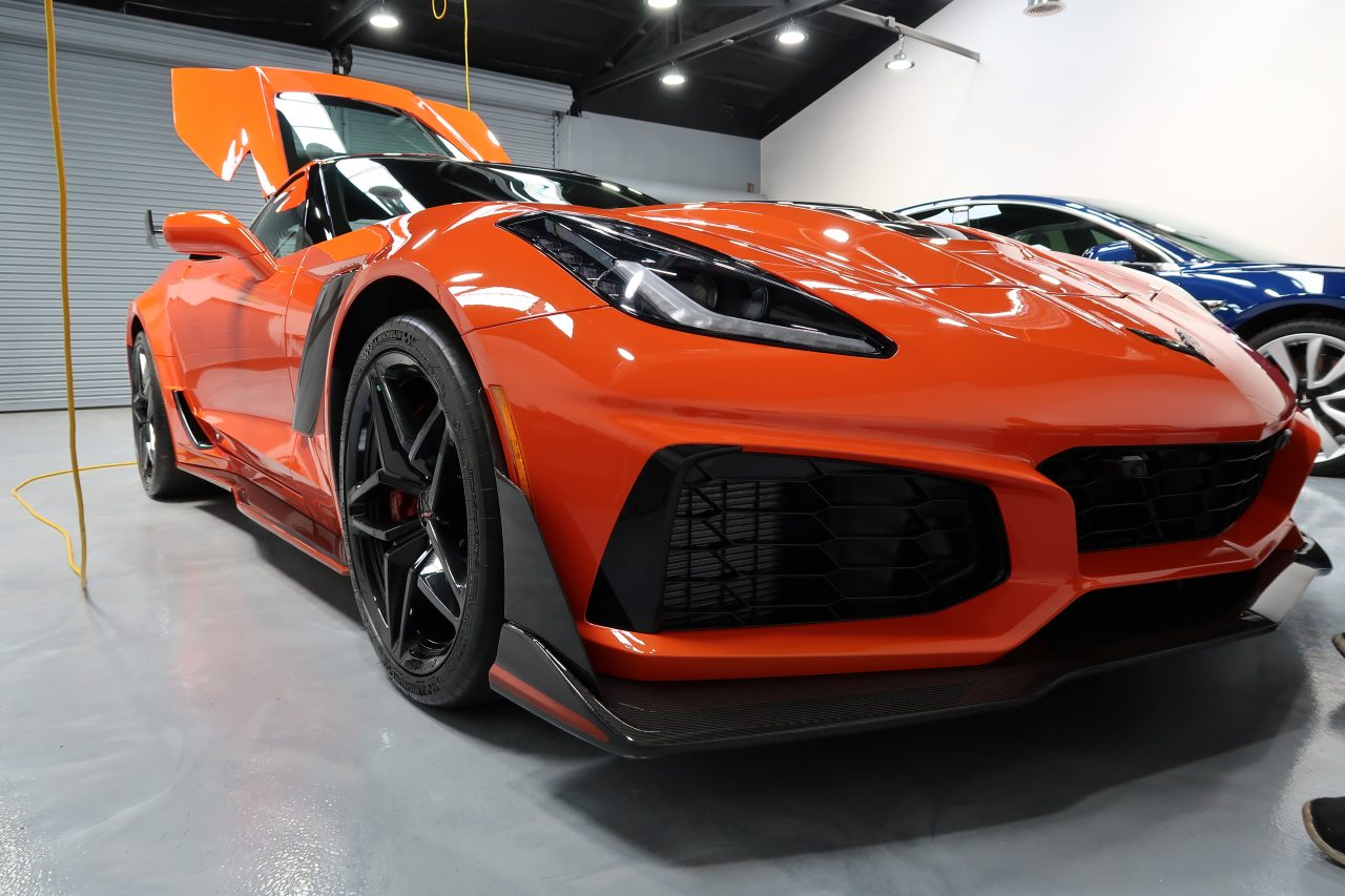 Orange Corvette ZR1 Ceramic Pro Light 9H Rain Longwood FL